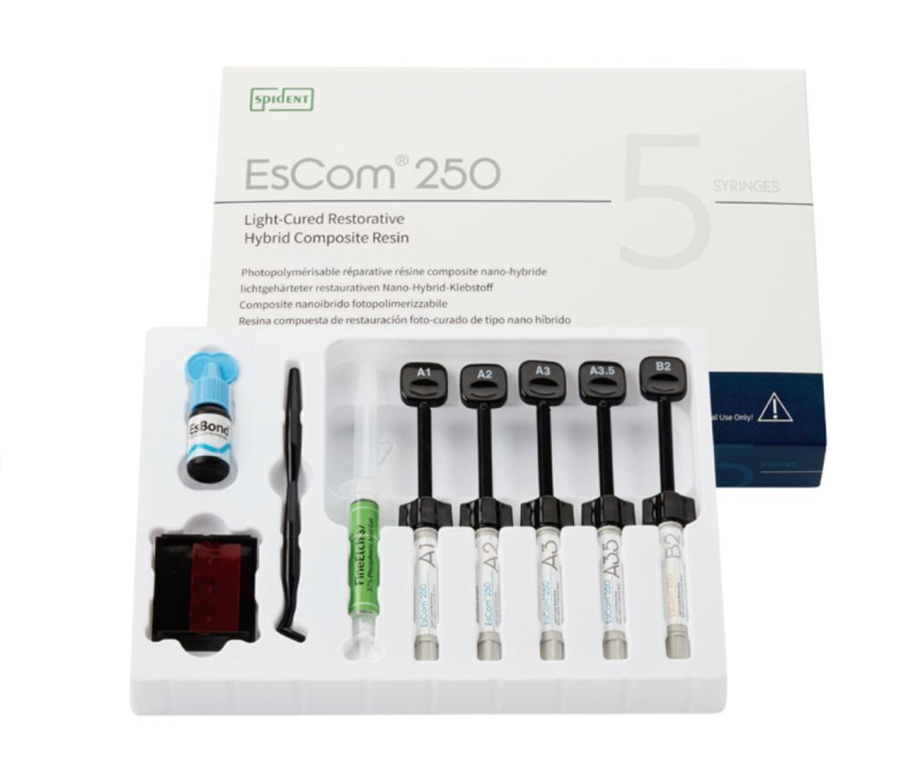 Набір 5 шприців, Наногібридний композитний матеріал з додатком цирконію Spident EsCom®250 Kit (Іс ком250), — фото №1