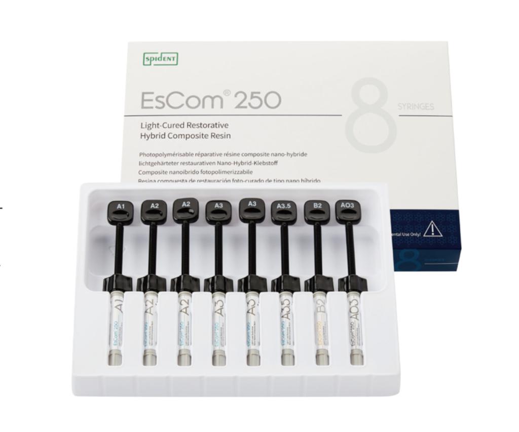 Набір 8 шприців, Наногібридний композитний матеріал з додатком цирконію Spident EsCom®250 Kit (Іс ком250), — фото №1